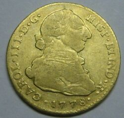 1778 Colombia 2 Escudos Popayan Charles Iii Spain Doubloon Colonial Era Gold