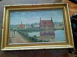 Antique Painting Landscape American W. Buck Bourne Mill Colchester