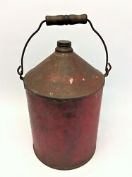 Antique Old C.m.s.t.p. And Prr. Railroad Gasoline Gas Can Red Metal Used