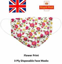 Flower Print Pattern Disposable Face Masks 3 Ply Surgical Medical Face Covers