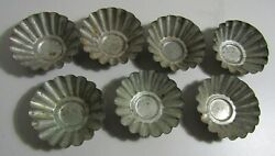 Lot Of 7 Antique Primitive Small Flutedtin Molds For Candy And More 2-1/8th 62