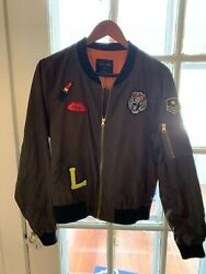 Love Tree Khaki Green Bomber Jacket With Cool Patches Size L