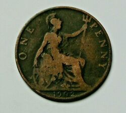 1902 Uk British Edward Vii Coin - One Penny 1d - Brown