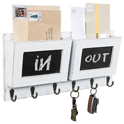 Mygift 2 Slot Vintage White Wood Mail Wall Rack With 6 Key Hooks And Chalkboards