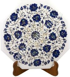 15 White Top Corridor Table Lapis Inlaid Floral Fine Mosaic Arts Wedding Gifts