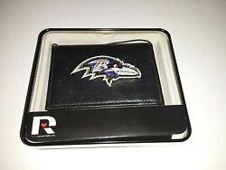 Baltimore Ravens Nfl Embroidered Leather Trifold Wallet
