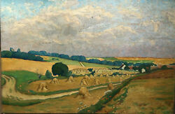 French Nabi Impressionism Painting Landscape At The Haystack Cloudy Sky