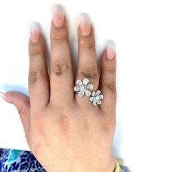 1.75 Tcw Baguette And Round Diamonds Flowers Ring In 18k Two-tone Gold Size 6.5