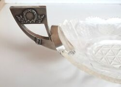 Antique Imperial Russian Sterling Silver 84 Crystal Glass Candy Dish Fruit Bowl