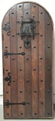 Rustic Reclaimed Solid Lumber Doug Fir Door Arched Winery Castle Story Book Iron