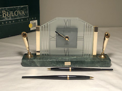 Bulova A Legend In Time Clock Marble With Pens Vintage New