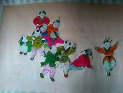 Vintage Silk,art 10, Asian Boys Playing. Extremely Rare,1900, Hand Sewing