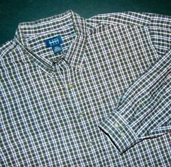 Harbor Bay Men's Button Front Shirt 3xl Big And Tall Long Sleeves Plaid