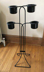 Vintage Metal Plant Stand With 4 Pots - Mid Century / Art Deco Style