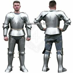Medieval Wearable Armour Suit Larp Reenactment Knight Costume Silver