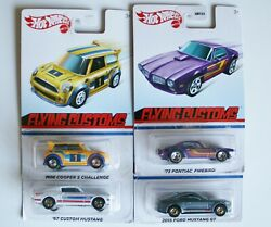 4 Hot Wheels Target Flying Customs 67 15 Mustangs And03973 Firebird And Mini Cooper S