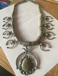 Signed Navajo Sterling Silver Green Turquoise Squash Blossom Necklace/earrings