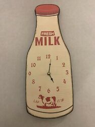 21 Wood Wall Clock - Fresh Milk Bottle Lap It Up - Country Kitchen Dairy Cow
