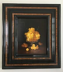 """Oil On Canvas Jean-claude Chauray """"les Chasselats"""", Framed Still Life Grapes"""
