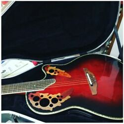 Super Rare Ovation 44cdx Red Burst Eleaco Acoustic Guitar And Case Japan Shipped