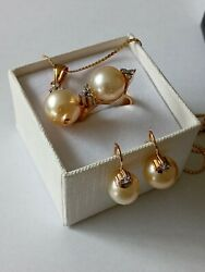 14kt South Sea Pearl And Diamond Jewelry Set With 18kt Chain