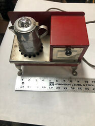 Rare Tin Toy Antique Vintage 1930's Metal Ware Corp. Red Stove Oven Works 110 V