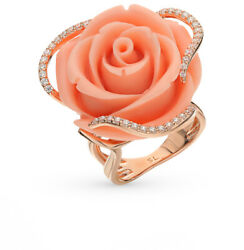 New Russian Ring Rose Gold Plated Sterling Silver Fine Jewelry Coral Flower