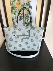 NWT Coach PRAIRIE SATCHEL WITH ROSE PRINT Silver sky with Dust Bag $165.99