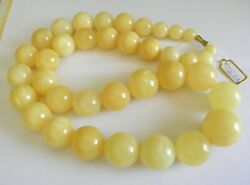 Genuine Baltic Amber Buttermilk Color Beaded Necklace 126,08g Handmade