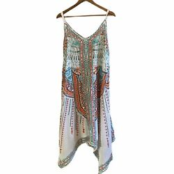 Tie dye Dress india hankerchief Colorful Vacation Beach Large Coral White Aqua $20.00