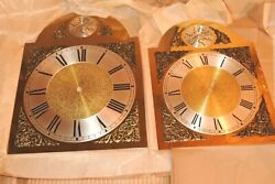 Lot Of 4 Vintage Tempus Fugit Grandfather Clock Brass Face Dial Nos