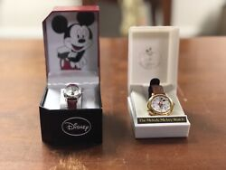 Lot Of 3 Vintage Disney Watches - 2 Mickey Mouse, 1 Minnie, 1 Disney Land Pin