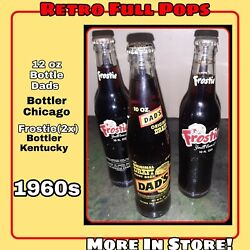 Vintage 3 Retro Soda Pop Bottle Lot Frostie And Dads Cap 60s Root Beer Glass Full