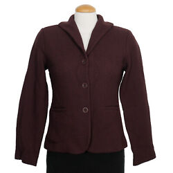 Eileen Fisher Cassis Purple Wool Viscose Seed Textured Shaped Jacket