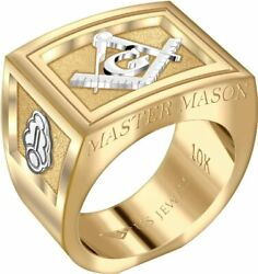 Us Jewels Men's Master Mason 14k Or 10k Two Tone Yellow And White Gold Ring