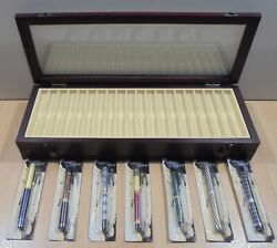 Deagostini Wooden Fountain Pen Display Case And A Set Of Seven Fountains Pens New