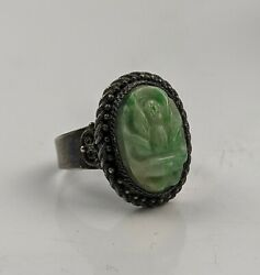 Chinese Antique Qing / Republic Jade And Silver Lotus Ring Hallmarked Adjustable