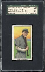 1910 T206 Johnny Evers With Bat Chicago On Shirt Sgc Ex+ 5.5 Psa Dead Centered