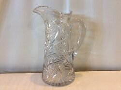 Vintage Cut Crystal 10 Pitcher W Notched Handle Intricate Ornate Design Heavy