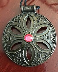 Vintage Etched Design Floral Cutout W/ Pink Stone Pendant In Antiqued Brass Tone