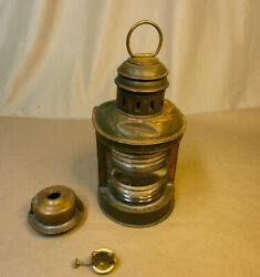 Vintage Perko Brass Marine Oil Lantern/lamp With Clear Lens
