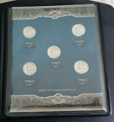 1941-1945 Last Five Years Of Silver Mercury Dimes In A Nice Commemorate Set 23