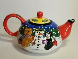 Catzilla By Candace Reiter Building Snowman Cats Teapot With Lid 2001collectible