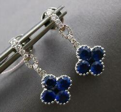 2.18ct Diamond And Aaa Sapphire 14kt White Gold 3d 4 Leaf Clover Hanging Earrings