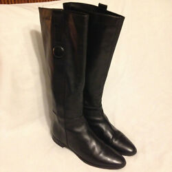 Davos Gomma Womenand039s Black Italian Leather Tall Boots Size Eu 39 /us 8.5