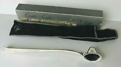 "VINTAGE Gerity Silver Plated 10"" Helmet Candle Snuffer With Pouch amp; Box bonus"