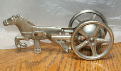 1900's Horse And Cart Bell Pull Toy Cast Iron And Steel Antique Harness Racing