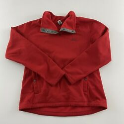 Stio Kita Fleece 1/4 Snap Button Pullover Jacket Menand039s M Red Gray