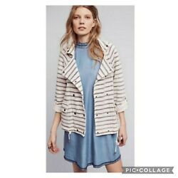 Anthropologie Dolan Left Coast Striped Double Breasted Knit Jacket M