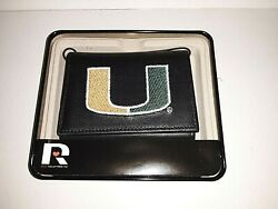 Miami Hurricanes Ncaa Leather Embroidered Tri-fold Wallet